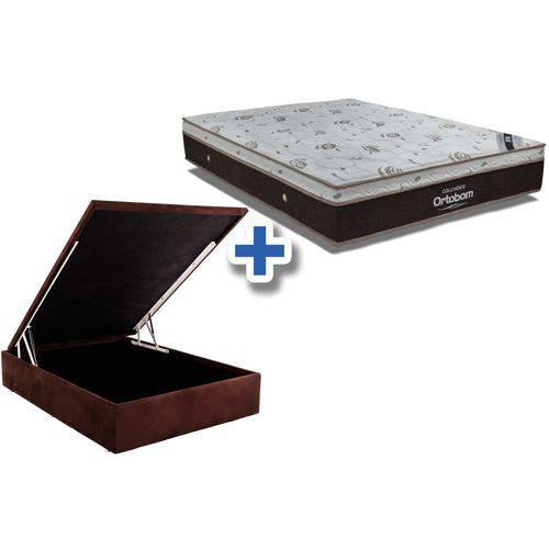 Conjunto Box Baú - Colchão Ortobom de Molas Pocket Sleep King Látex + Cama Box Baú Universal Nobuck Rosolare Café - Casal 1,38x1,88