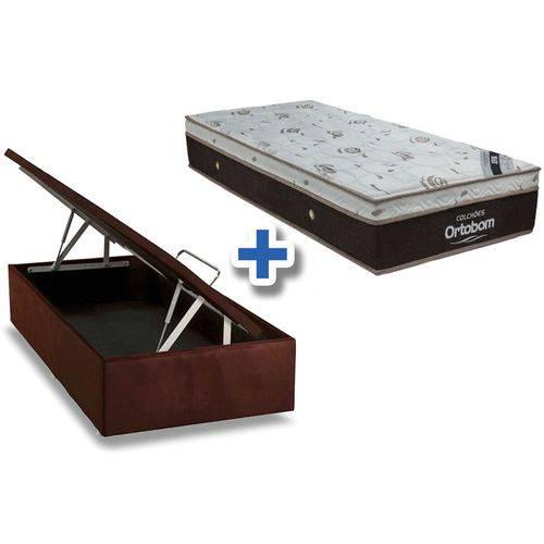 Conjunto Box Baú - Colchão Ortobom de Molas Pocket Sleep King Látex + Cama Box Baú Universal Nobuck Rosolare Café - Solteiro 0,88x1,88