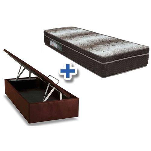 Conjunto Box Baú -Colchão Ortobom Ortopédico Light OrtoPillow + Cama Box Baú Nobuck Rosolare Café - Solteiro 0,88x1,88