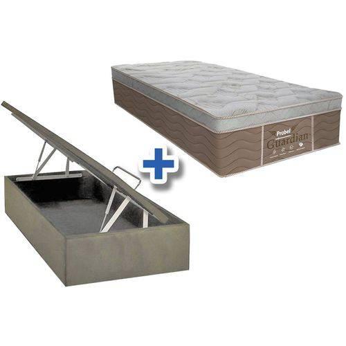 Conjunto Box Baú Colchão Probel Molas Prolastic Guardian +Cama Box Baú Nobuck Bege Solteiro 88