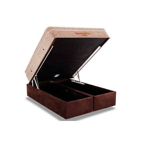 Conjunto Box Baú Queen - Colchão Ortobom Viscomemory + Cama Box Baú Ortobom Nobuck Café(158x198x75)