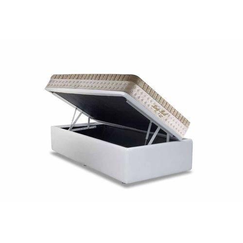 Conjunto Box- Colchão Anjos Superlastic King Best +Cama Box Baú Courino Bianco- Solteiro 88x188
