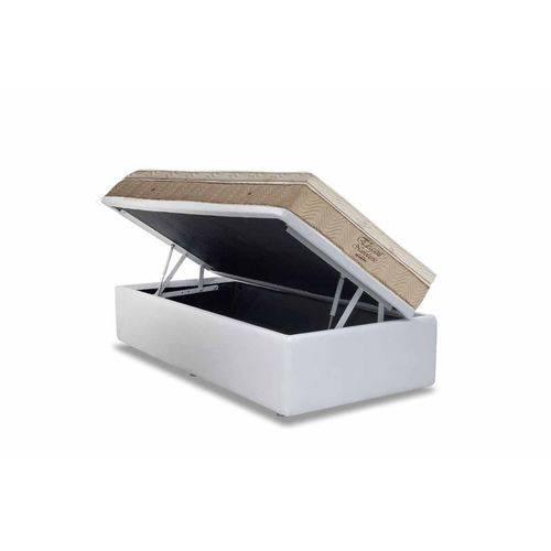 Conjunto Box- Colchão Ortobom Nanolastic Elegant+Cama Box Baú Courino Bianco- Solteiro 88x188