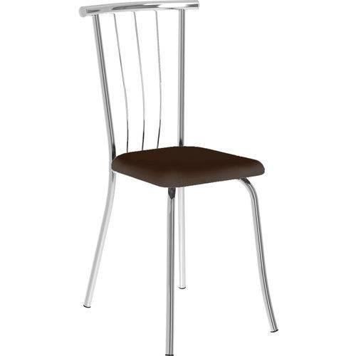 Conjunto 2 Cadeiras 154 Napa Cacau Cromado Móveis Carraro Marrom