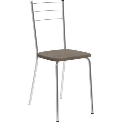 Conjunto 2 Cadeiras 1703 Tecido Camurça Móveis Carraro Marrom