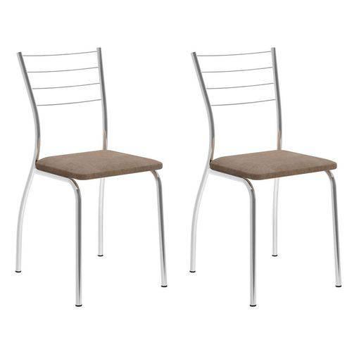 Conjunto 2 Cadeiras 1700 Camurça Conhaque