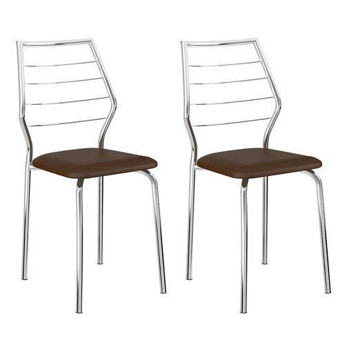Conjunto 2 Cadeiras 1716 Casual Napa Cacau Cromado