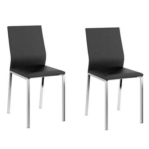 Conjunto 2 Cadeiras 1804 Carraro Preto/Cromado