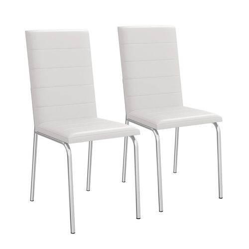 Conjunto 2 Cadeiras Amsterdã Cromado e Branco 2C091-106 Crome