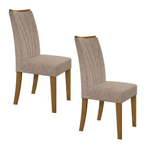 Conjunto 2 Cadeiras Apogeu Rovere/velvet Riscado Bege Móveis Lopas