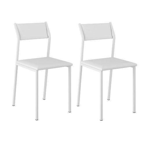 Conjunto 2 Cadeiras Carraro 1709 - Preto/Napa Branco