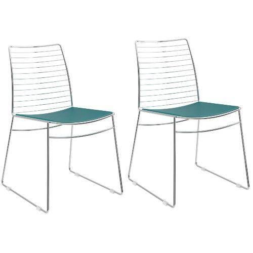 Conjunto 2 Cadeiras Carraro 1712 Cromada - Turquesa