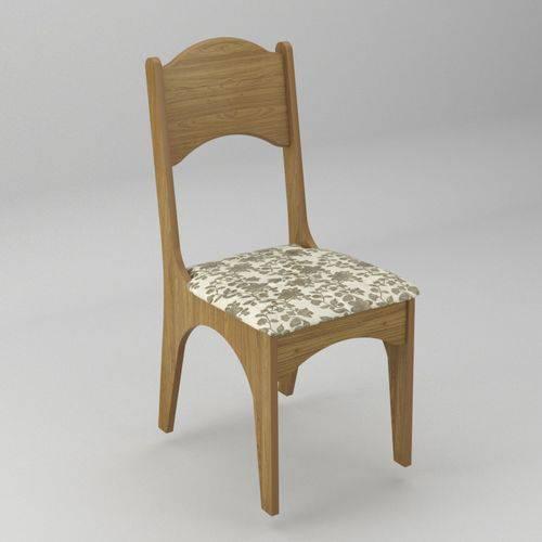 Conjunto 2 Cadeiras com Assento Estofado Ca18 Dalla Costa Freijó Floral Claro