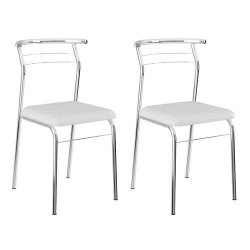 Conjunto 2 Cadeiras Cromada 1708 Branca