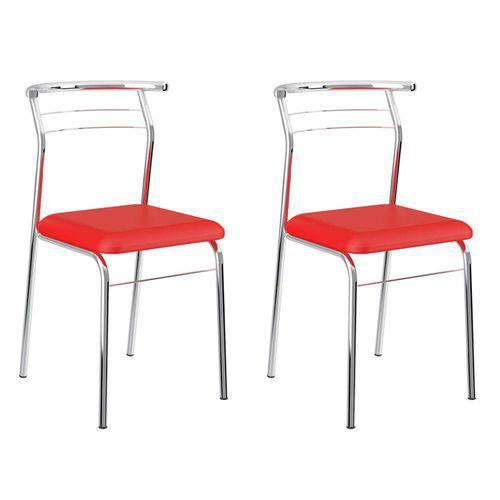 Conjunto 2 Cadeiras Cromada 1708 Vermelho Real e