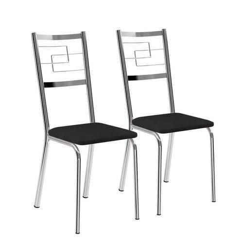 Conjunto 2 Cadeiras Cromado Carraro 1722 Napa Preto