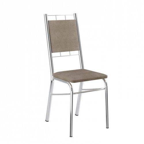 Conjunto 2 Cadeiras de Aço 1724 Carraro Camurça Conhaque/Cromado