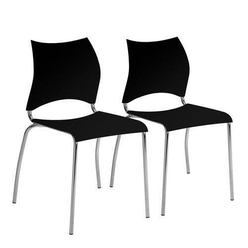 Conjunto 2 Cadeiras de Jantar Comadas Preta 357 Carraro