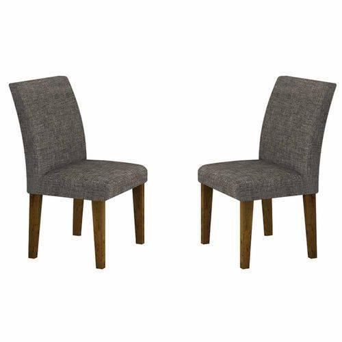 Conjunto 2 Cadeiras de Jantar Olímpia Linho Cinza/canela - Leifer Móveis
