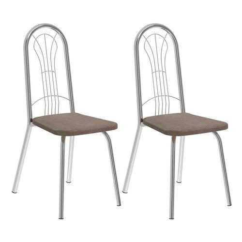 Conjunto 2 Cadeiras Del Vito Carraro Camurça/conhaque