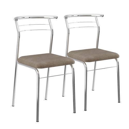 Conjunto 2 Cadeiras em Aço 170820670 Camurça Conhaque/cromado - Carraro