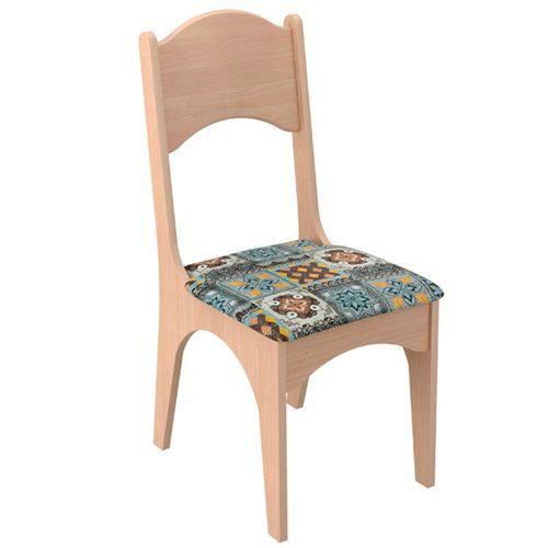 Conjunto 2 Cadeiras Estofadas 100% Mdf Ca29 Natural Ladrilho - Dalla Costa