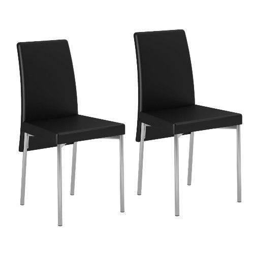 Conjunto 2 Cadeiras Estofadas Carraro 306 - Couríssimo Preto
