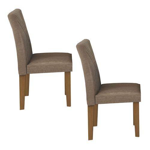 Conjunto 2 Cadeiras Estofadas Gênova Leifer Imbuia/Veludo Riscado Camurça