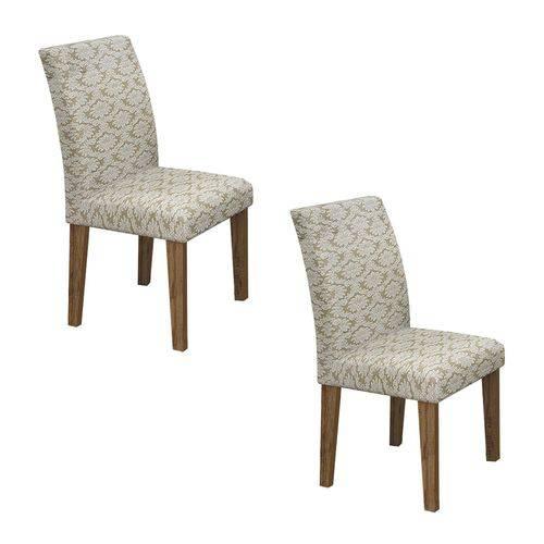 Conjunto 2 Cadeiras Estofadas Olímpia Leifer Ypê/Imperial Creme