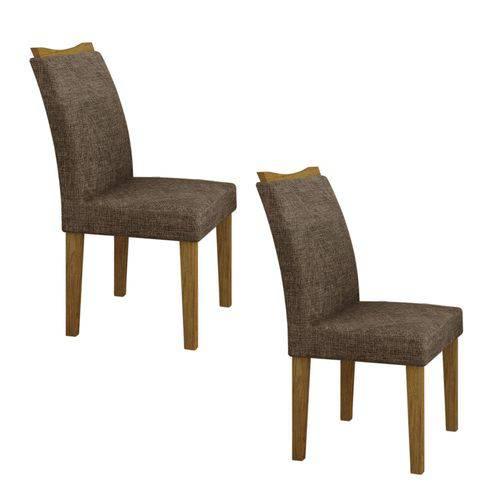 Conjunto 2 Cadeiras Estofadas Pampulha Leifer Imbuia/Linho Marrom