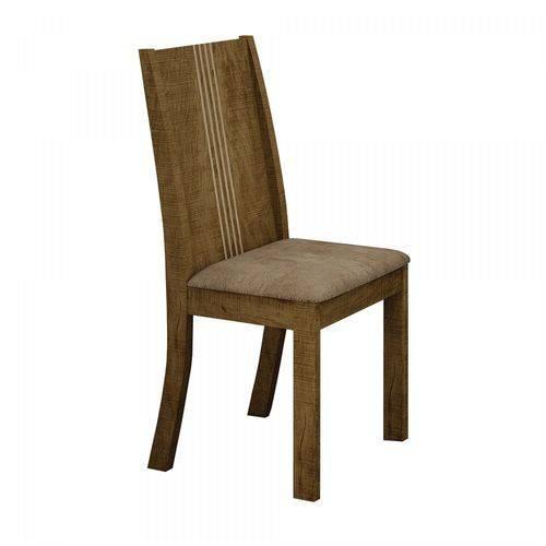 Conjunto 2 Cadeiras Estofadas Vitória Leifer Ypê/Animale Capuccino