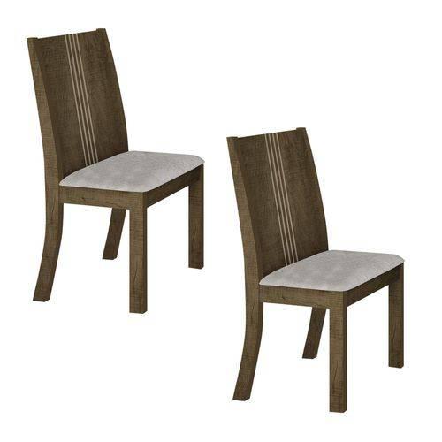 Conjunto 2 Cadeiras Estofadas Vitória Leifer Ypê/Pena Palha