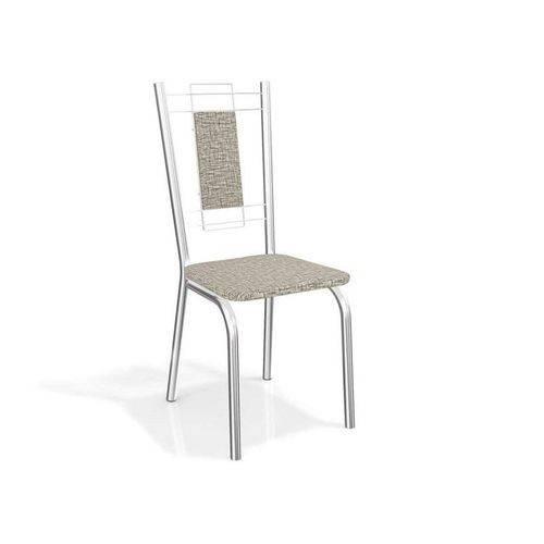 Conjunto 2 Cadeiras Florença Crome Cromado/linho Marrom Kappesberg