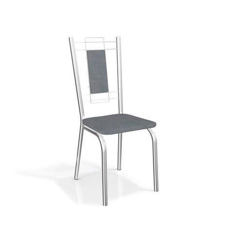 Conjunto 2 Cadeiras Florença Crome Cromado/Preto Linho Cinza Kappesberg