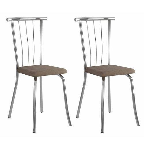 Conjunto 2 Cadeiras Galassi Carraro Camurça/conhaque