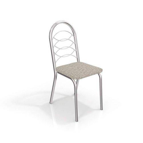 Conjunto 2 Cadeiras Holanda Crome Cromado/Linho Marrom Kappesberg