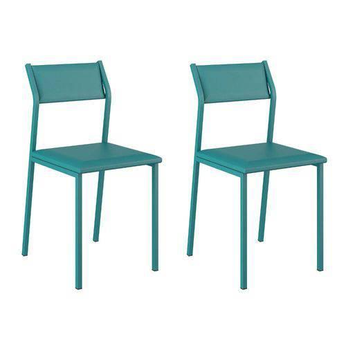 Conjunto 2 Cadeiras Luney Carraro Turquesa