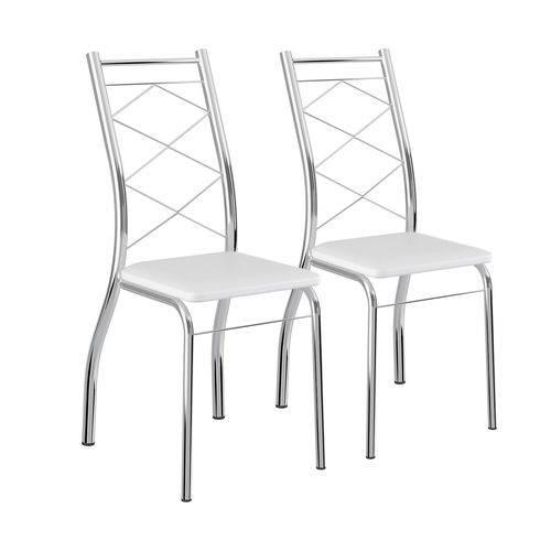 Conjunto 2 Cadeiras Napa Branco Aço Cromado 1710 Carraro Móveis