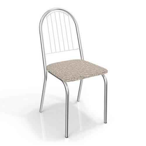 Conjunto 2 Cadeiras Noruega Crome 2C077CR-22 Linho Marrom - Kappesberg