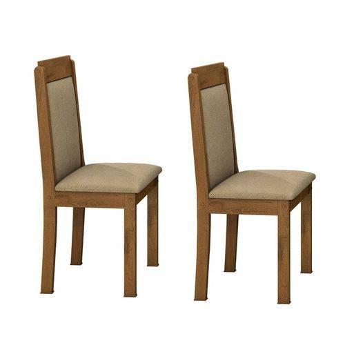 Conjunto 2 Cadeiras Pérola Móveis Lopas Rovere/animale Bege