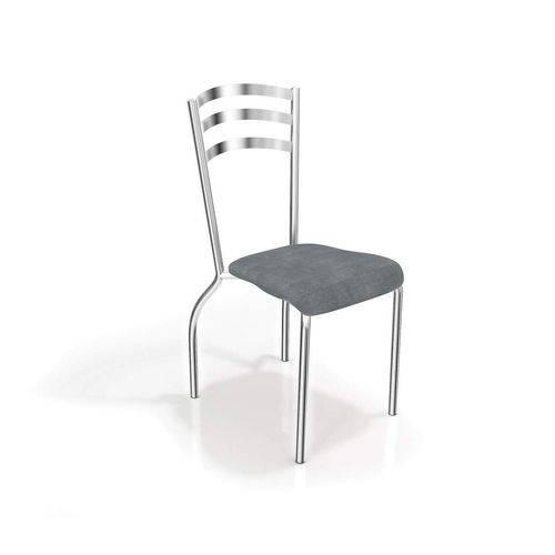 Conjunto 2 Cadeiras Portugal Crome Cromado/Preto Linho Cinza Kappesberg