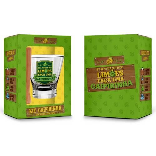 Conjunto Caipirinha - Copo + Socador e Receita Transparente
