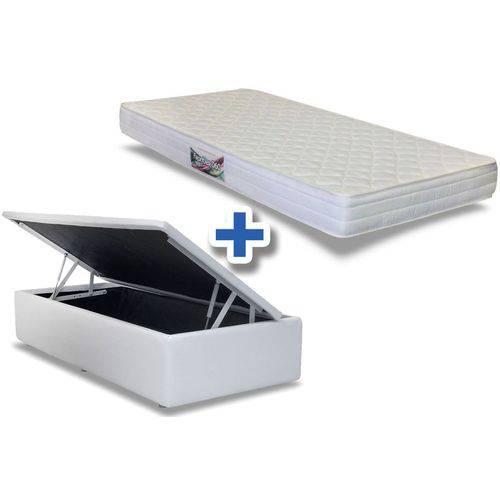 Conjunto Cama Box Baú - Colchão Herval de Espuma Ortopédica Frontier 17cm + Cama Box Baú Couríno Bianco - Solteiro 0,88x1,88