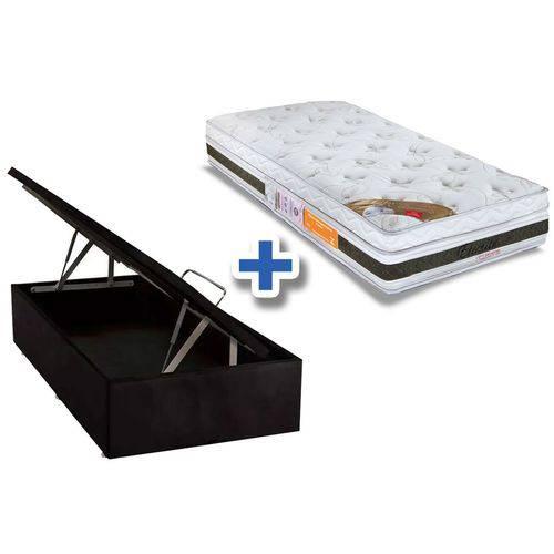Conjunto Cama Box Baú- Colchão Orthocrin de Espuma Látex Eternitá Pró Saúde + Cama Box Baú Nobuck Nero Black - Solteiro 0,88x1,88