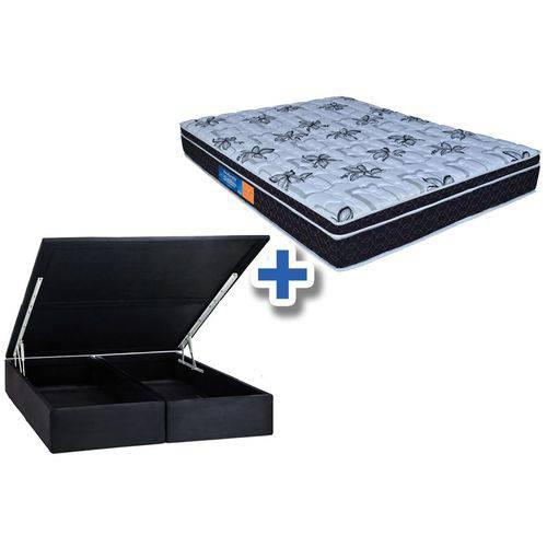 Conjunto Cama Box Baú - Colchão Probel de Espuma D33 ProDormir Senior Mega Resistente + Cama Box Baú Nobuck Nero Black - King 1,93x2,03