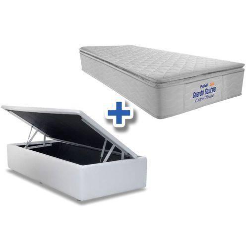 Conjunto Cama Box Baú - Colchão Probel de Espuma Guarda Costas Extra Firme Pillow Top + Cama Box Baú Courino Bianco - Solteiro 0,88x1,88