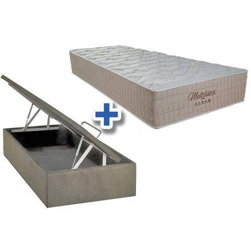 Conjunto Cama Box Baú Colchão Probel de Molas Pocket Multilátex+Cama Box Baú Nobuck Bege Solteiro 88