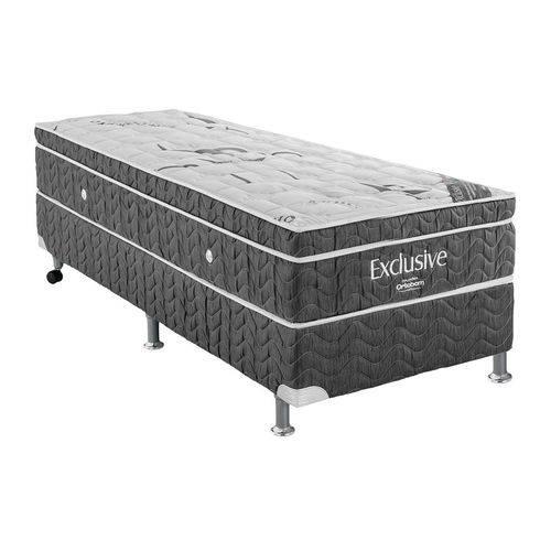 Conjunto Cama Box - Colchão Ortobom de Molas Nanolastic Exclusive + Cama Box Exclusive Cinza - Solteiro 0,88x1,88