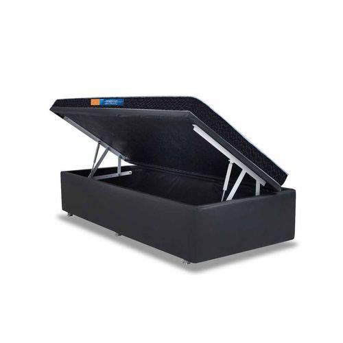 Conjunto Cama Box - Colchão Probel de Espuma D45 Hiper Resistente Pró Dormir Sênior Selado + Cama Box Baú Courino Nero Black - Solteiro 0,88x1,88