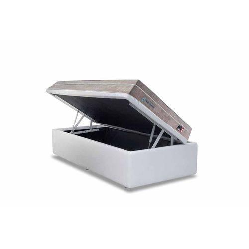Conjunto Cama Box- Colchão Sealy Pocket Miami + Cama Box Baú Courino Bianco- Solteiro 88x188